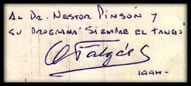 Autógrafo de A. Falgás, dedicado a Néstor Pinsón